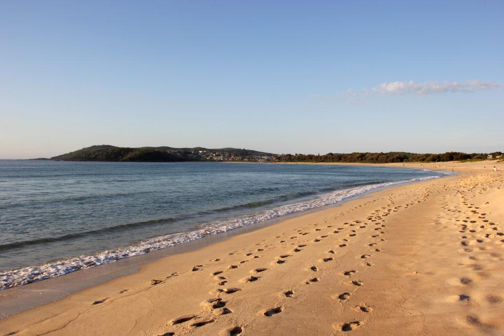 Walking the Fingal Bay beach
