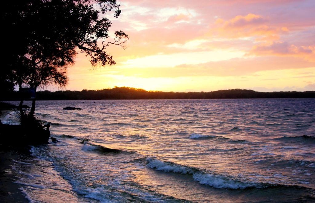 Sandy shores of the lake Broadwater - our camping tents were just a few metres away