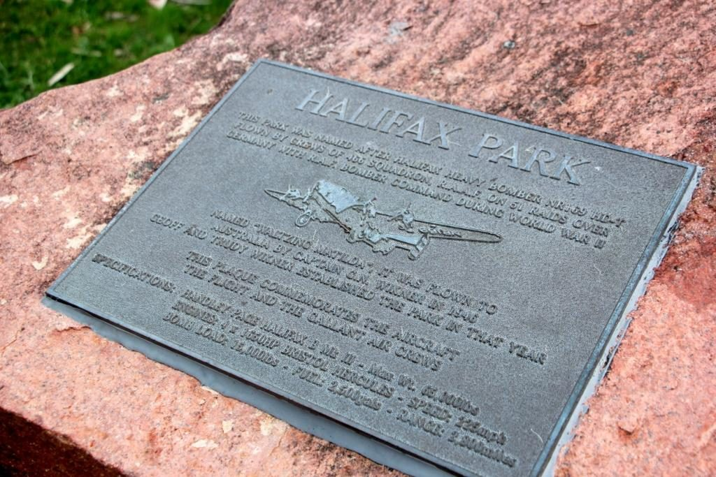 Halifax Park - named after a Halifax bomber flown to NSW from the UK in the same year that the park was set up