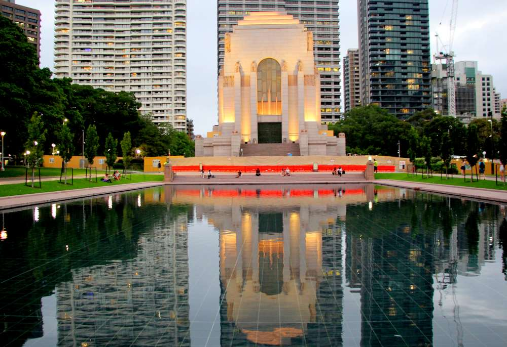 The ANZAC war memorial, shimmering on the Pool of reflection
