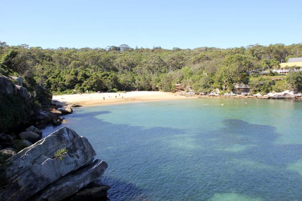 View of Collin's beach from one of its flanking clifftops