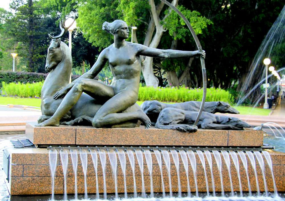 Artemis, the goddess of hunting is flanked by a stag and her hunting dogs at the Archibald fountain