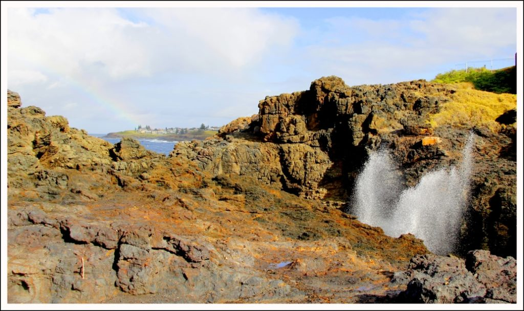 The larger of the Kiama blowholes, there is smaller one further away