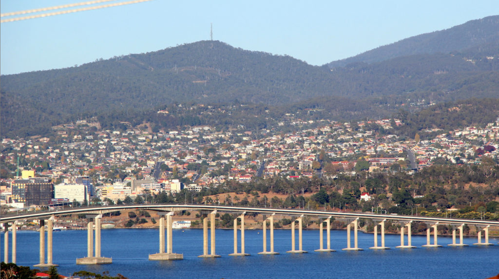 Sparkling riverside views of Hobart - the hill in the background with the tower is Mt. Wellington