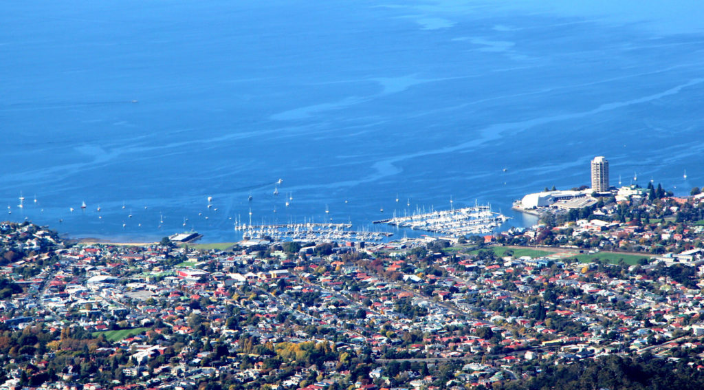 The tall building to the right is Wrest Point : Hobart's highest and also Australia's first casino