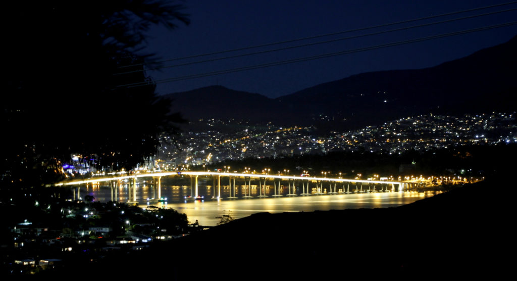 Hobart's dreamy twinkling lights at night, from our house at Lindisfarne